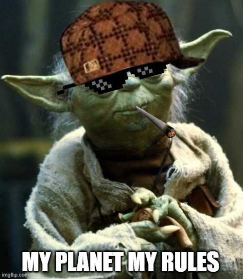 Yoda is smoking with a good exuese |  MY PLANET MY RULES | image tagged in memes,star wars yoda | made w/ Imgflip meme maker