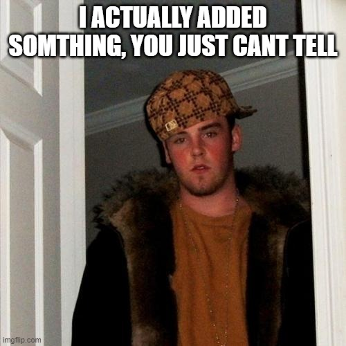 sriously tho |  I ACTUALLY ADDED SOMTHING, YOU JUST CANT TELL | image tagged in memes,scumbag steve | made w/ Imgflip meme maker