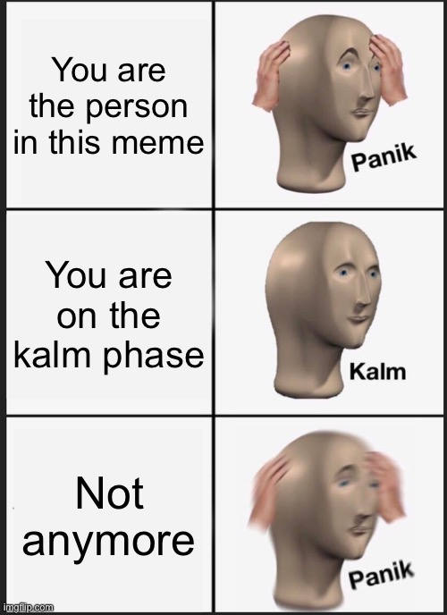 In the panik |  You are the person in this meme; You are on the kalm phase; Not anymore | image tagged in memes,panik kalm panik | made w/ Imgflip meme maker