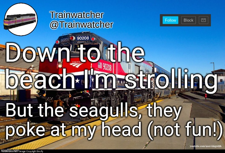 Trainwatcher Announcement 4 |  Down to the beach I'm strolling; But the seagulls, they poke at my head (not fun!) | image tagged in trainwatcher announcement 4 | made w/ Imgflip meme maker