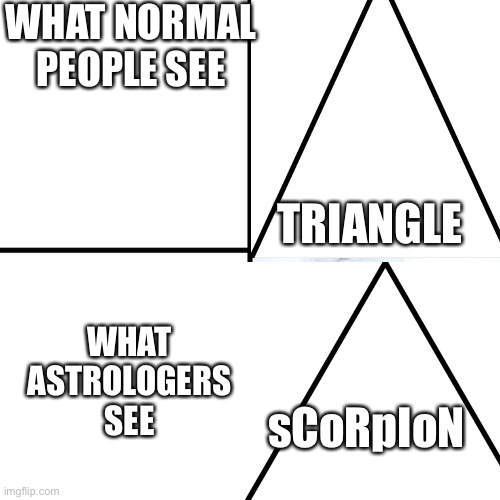 True |  WHAT NORMAL PEOPLE SEE; TRIANGLE; WHAT ASTROLOGERS SEE; sCoRpIoN | image tagged in memes,astrology,mcdonalds,roller coaster,birthday | made w/ Imgflip meme maker
