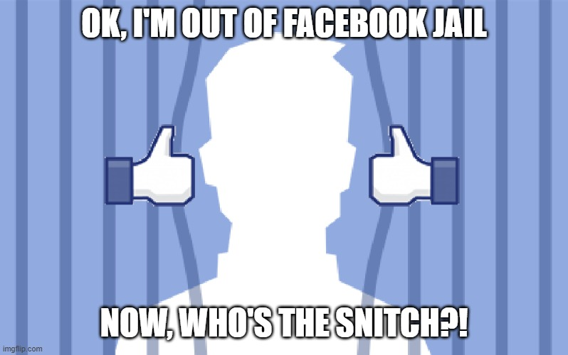 jail |  OK, I'M OUT OF FACEBOOK JAIL; NOW, WHO'S THE SNITCH?! | image tagged in facebook,snitch,jail,facebook jail,cry baby,funny | made w/ Imgflip meme maker