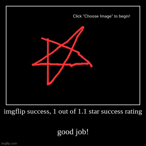 Imgflip success | imgflip success, 1 out of 1.1 star success rating | good job! | image tagged in funny,demotivationals | made w/ Imgflip demotivational maker