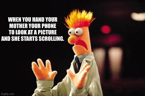 Beaker |  WHEN YOU HAND YOUR MOTHER YOUR PHONE TO LOOK AT A PICTURE AND SHE STARTS SCROLLING. | image tagged in beaker freak out,freak out,scrolling,nosy mother | made w/ Imgflip meme maker