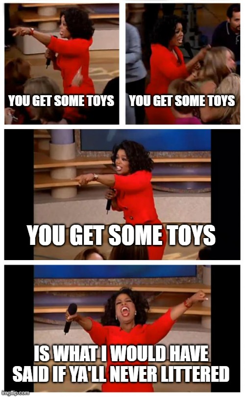 my mom when me and my brother ask for a toy |  YOU GET SOME TOYS; YOU GET SOME TOYS; YOU GET SOME TOYS; IS WHAT I WOULD HAVE SAID IF YA'LL NEVER LITTERED | image tagged in memes,oprah you get a car everybody gets a car | made w/ Imgflip meme maker