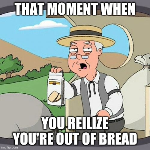 Pepperidge Farm Remembers Meme |  THAT MOMENT WHEN; YOU REILIZE YOU'RE OUT OF BREAD | image tagged in memes,pepperidge farm remembers | made w/ Imgflip meme maker