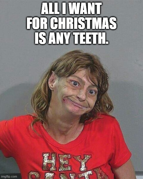 methhead |  ALL I WANT FOR CHRISTMAS IS ANY TEETH. | image tagged in meth,no teeth,xmas,methhead,druggy | made w/ Imgflip meme maker
