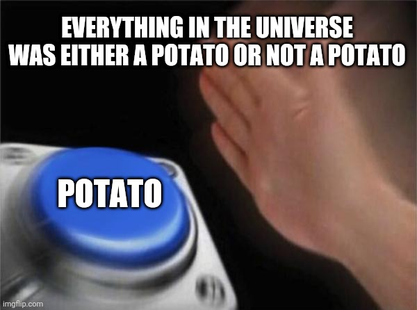 What else could it be? |  EVERYTHING IN THE UNIVERSE WAS EITHER A POTATO OR NOT A POTATO; POTATO | image tagged in memes,blank nut button,potato,universe,logic,everything | made w/ Imgflip meme maker