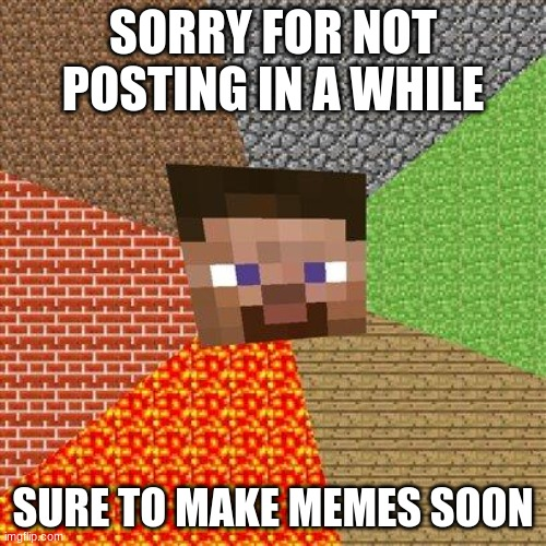 Minecraft Steve |  SORRY FOR NOT POSTING IN A WHILE; SURE TO MAKE MEMES SOON | image tagged in minecraft steve | made w/ Imgflip meme maker