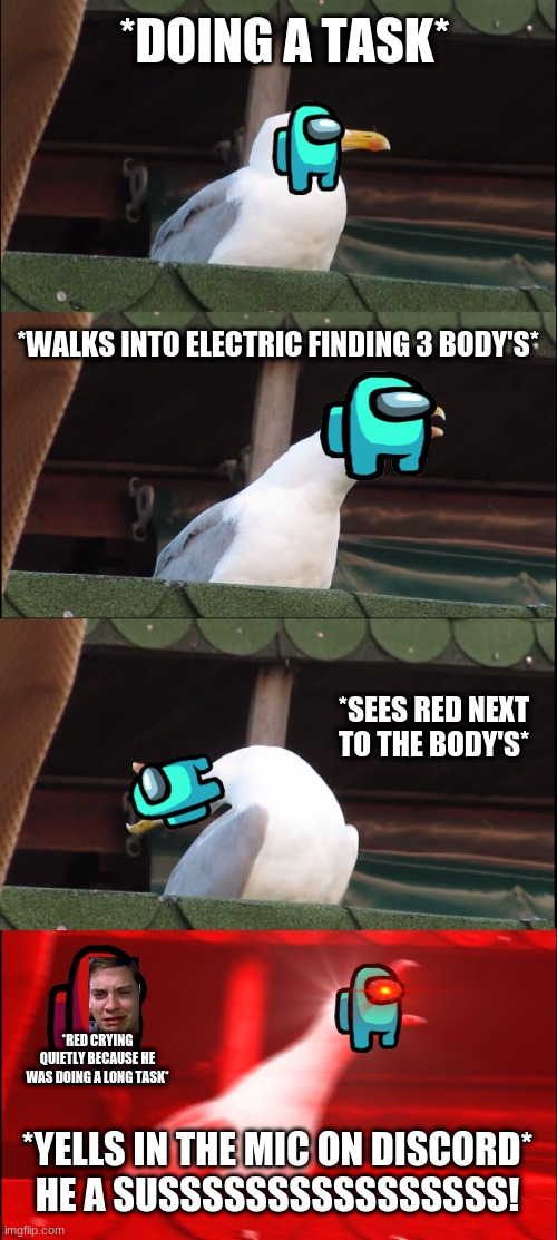 This happens to me all the time... |  *DOING A TASK*; *WALKS INTO ELECTRIC FINDING 3 BODY'S*; *SEES RED NEXT TO THE BODY'S*; *RED CRYING QUIETLY BECAUSE HE WAS DOING A LONG TASK*; *YELLS IN THE MIC ON DISCORD*  HE A SUSSSSSSSSSSSSSSSS! | image tagged in memes,inhaling seagull,among us,discord | made w/ Imgflip meme maker