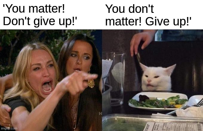 Woman Yelling At Cat Meme | 'You matter! Don't give up!' You don't matter! Give up!' | image tagged in memes,woman yelling at cat | made w/ Imgflip meme maker
