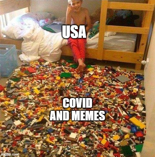 Lego Obstacle |  USA; COVID AND MEMES | image tagged in lego obstacle | made w/ Imgflip meme maker