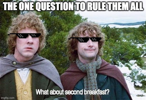 very true |  THE ONE QUESTION TO RULE THEM ALL | image tagged in second breakfast | made w/ Imgflip meme maker