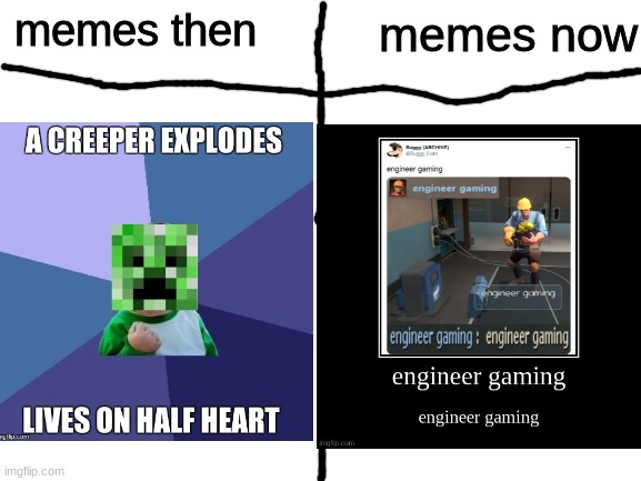 every day we stray further from god |  memes now; memes then | image tagged in then vs now,engineer,gaming,demotivationals | made w/ Imgflip meme maker