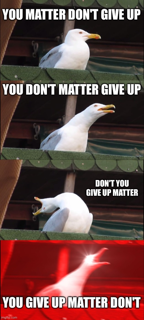 Inhaling Seagull Meme | YOU MATTER DON'T GIVE UP YOU DON'T MATTER GIVE UP DON'T YOU GIVE UP MATTER YOU GIVE UP MATTER DON'T | image tagged in memes,inhaling seagull | made w/ Imgflip meme maker