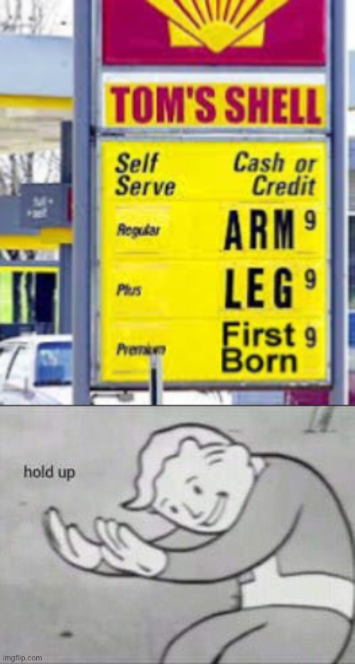 Costs an arm and a leg... literally speaking | image tagged in fallout hold up,memes,funny,expressions,stupid signs,sales | made w/ Imgflip meme maker