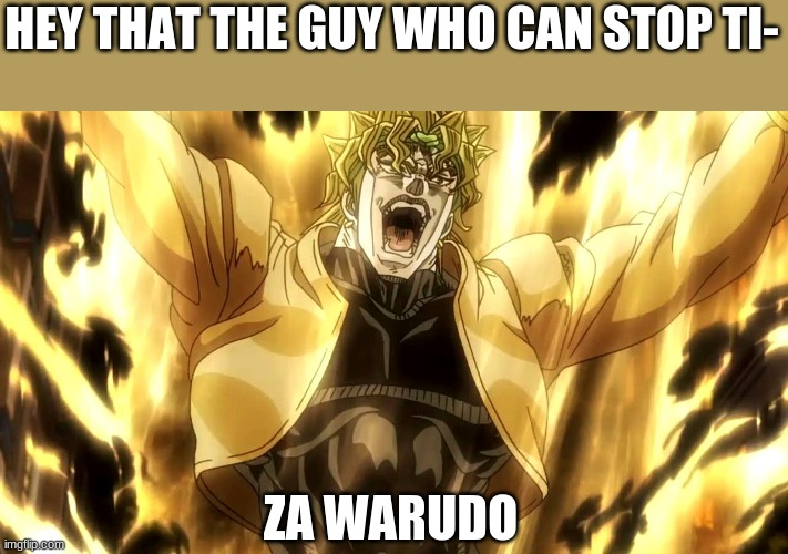 Za Warudo |  HEY THAT THE GUY WHO CAN STOP TI-; ZA WARUDO | image tagged in za warudo | made w/ Imgflip meme maker
