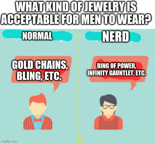 Nerd VS Normal |  WHAT KIND OF JEWELRY IS ACCEPTABLE FOR MEN TO WEAR? NERD; NORMAL; GOLD CHAINS, BLING, ETC. RING OF POWER, INFINITY GAUNTLET, ETC. | image tagged in nerd,normal | made w/ Imgflip meme maker