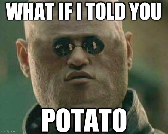 potato |  WHAT IF I TOLD YOU; POTATO | image tagged in memes,matrix morpheus,what if i told you,potato | made w/ Imgflip meme maker