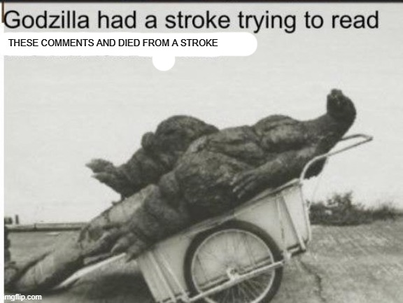THESE COMMENTS AND DIED FROM A STROKE | image tagged in godzilla | made w/ Imgflip meme maker