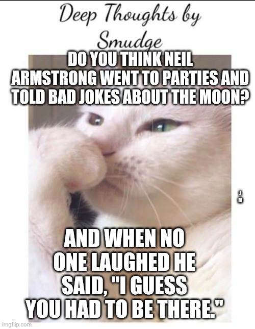 "Smudge |  DO YOU THINK NEIL ARMSTRONG WENT TO PARTIES AND TOLD BAD JOKES ABOUT THE MOON? J M; AND WHEN NO ONE LAUGHED HE SAID, ""I GUESS YOU HAD TO BE THERE."" 