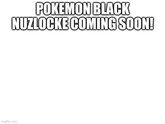 I'll be doing a pokemon black nuzlocke here so stay tuned to see it |  POKEMON BLACK NUZLOCKE COMING SOON! | image tagged in blank white template | made w/ Imgflip meme maker