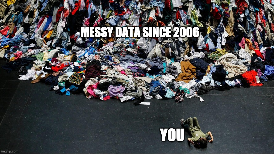 MESSY DATA SINCE 2006; YOU | made w/ Imgflip meme maker