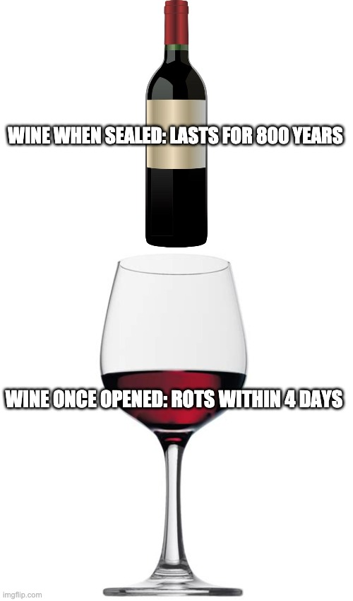 Wine |  WINE WHEN SEALED: LASTS FOR 800 YEARS; WINE ONCE OPENED: ROTS WITHIN 4 DAYS | image tagged in wine | made w/ Imgflip meme maker