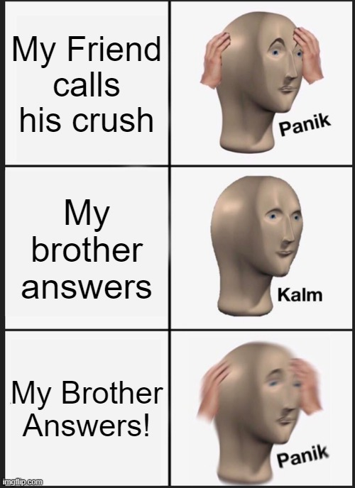 I Don't have a brother :/ |  My Friend calls his crush; My brother answers; My Brother Answers! | image tagged in memes,panik kalm panik,phone call | made w/ Imgflip meme maker