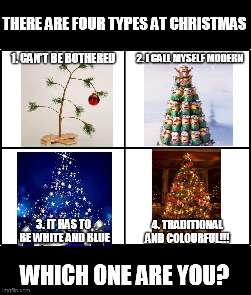 Christmas types |  THERE ARE FOUR TYPES AT CHRISTMAS; 2. I CALL MYSELF MODERN; 1. CAN'T BE BOTHERED; 3. IT HAS TO  BE WHITE AND BLUE; 4. TRADITIONAL AND COLOURFUL!!! WHICH ONE ARE YOU? | image tagged in memes,christmas,people | made w/ Imgflip meme maker