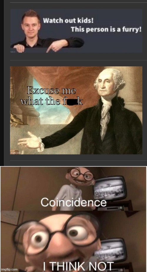 THE MEMES ARE SPEAKING TO EACH OTHER | image tagged in coincidence i think not,furry,coincidence,george washington | made w/ Imgflip meme maker
