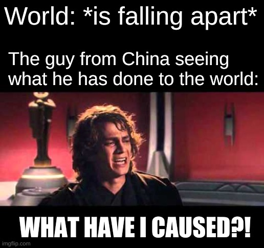we're still doomed |  World: *is falling apart*; The guy from China seeing what he has done to the world:; WHAT HAVE I CAUSED?! | image tagged in anakin what have i done | made w/ Imgflip meme maker