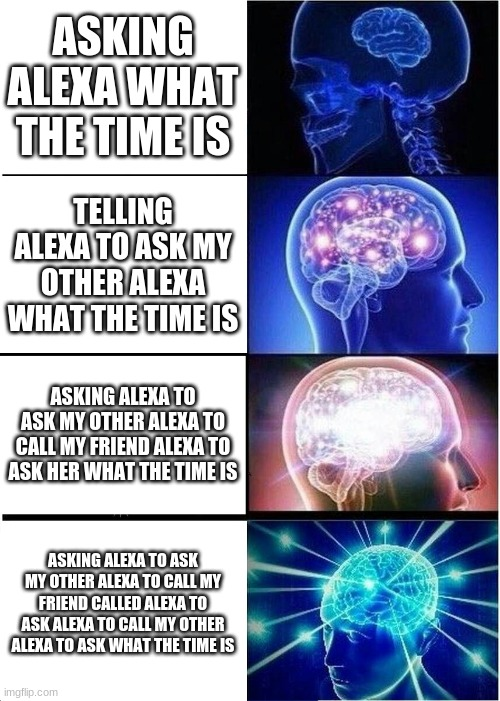 godzilla had a stroke trying to read this and freakin died |  ASKING ALEXA WHAT THE TIME IS; TELLING ALEXA TO ASK MY OTHER ALEXA WHAT THE TIME IS; ASKING ALEXA TO ASK MY OTHER ALEXA TO CALL MY FRIEND ALEXA TO ASK HER WHAT THE TIME IS; ASKING ALEXA TO ASK MY OTHER ALEXA TO CALL MY FRIEND CALLED ALEXA TO ASK ALEXA TO CALL MY OTHER ALEXA TO ASK WHAT THE TIME IS | image tagged in memes,expanding brain | made w/ Imgflip meme maker