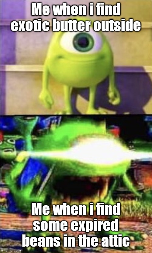 o |  Me when i find exotic butter outside; Me when i find some expired beans in the attic | image tagged in mike wazowski | made w/ Imgflip meme maker