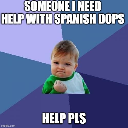 Success Kid |  SOMEONE I NEED HELP WITH SPANISH DOPS; HELP PLS | image tagged in memes,success kid | made w/ Imgflip meme maker