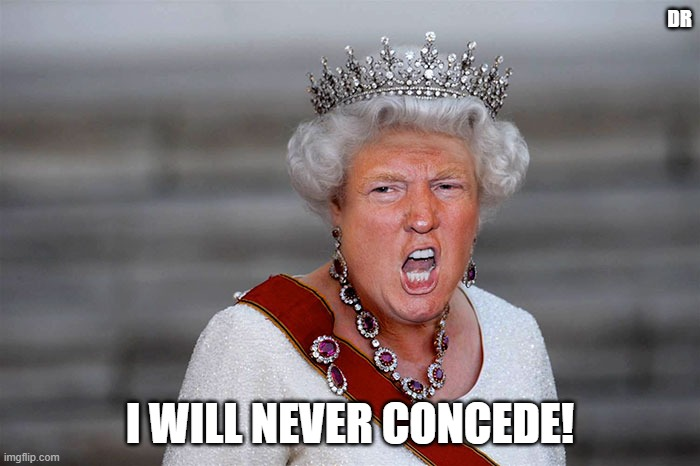 Queen Trump |  DR; I WILL NEVER CONCEDE! | image tagged in concede,clown car republicans | made w/ Imgflip meme maker