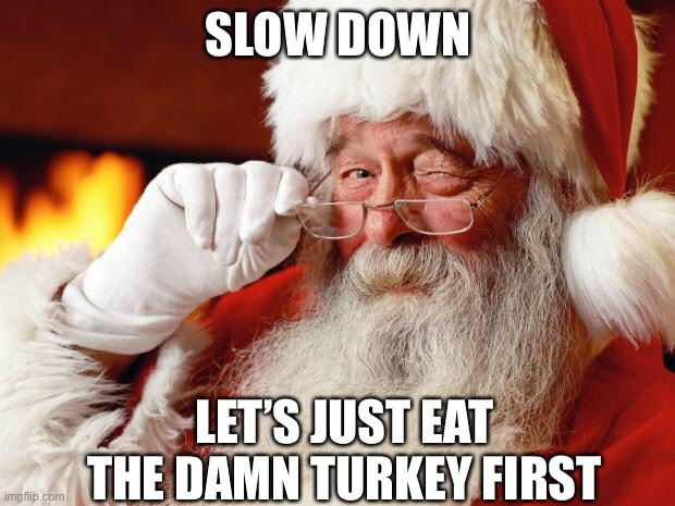Slow down |  SLOW DOWN; LET'S JUST EAT THE DAMN TURKEY FIRST | image tagged in santa,turkey,thanksgiving,christmas | made w/ Imgflip meme maker