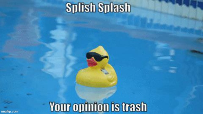 image tagged in splish splash your opinion is trash | made w/ Imgflip meme maker