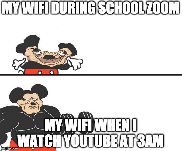 Wifi |  MY WIFI DURING SCHOOL ZOOM; MY WIFI WHEN I WATCH YOUTUBE AT 3AM | image tagged in micky mouse | made w/ Imgflip meme maker