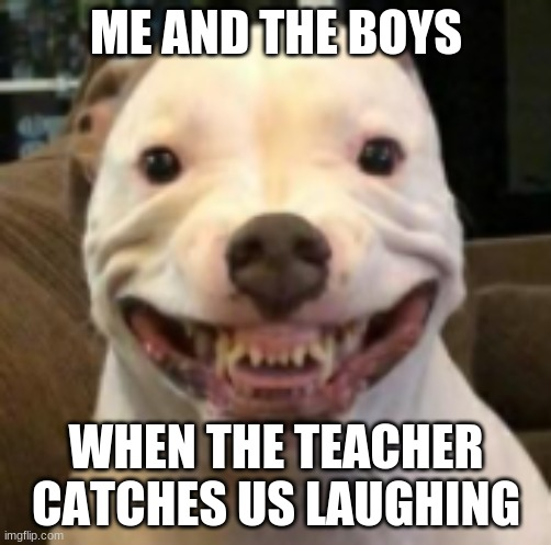 Me and the Boys when the Teacher catches us Laughing |  ME AND THE BOYS; WHEN THE TEACHER CATCHES US LAUGHING | image tagged in boi,boys,me and the boys,teacher,teachers,funny | made w/ Imgflip meme maker