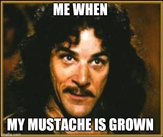 princess bride |  ME WHEN; MY MUSTACHE IS GROWN | image tagged in princess bride | made w/ Imgflip meme maker