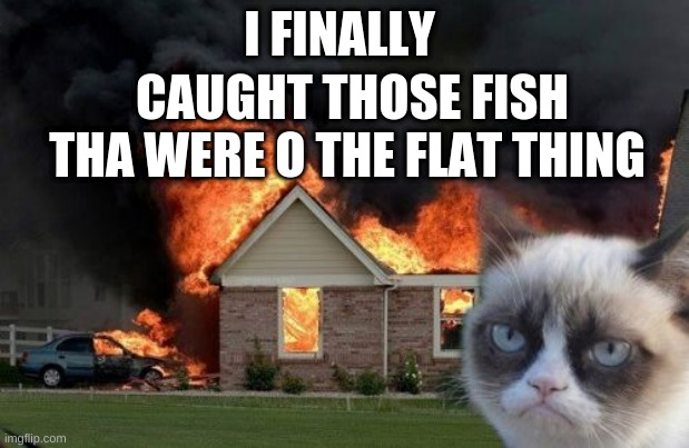 Burn Kitty |  I FINALLY; CAUGHT THOSE FISH THA WERE O THE FLAT THING | image tagged in memes,burn kitty,grumpy cat | made w/ Imgflip meme maker