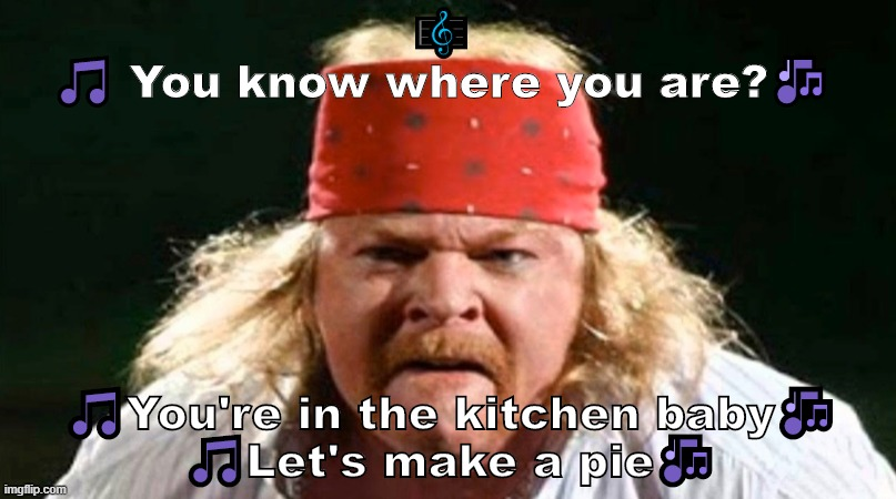 You know where you are ??? |  🎼 🎵 You know where you are?🎶; 🎵You're in the kitchen baby🎶 🎵Let's make a pie🎶 | image tagged in funny,axl rose,heavy metal,hard rock,meme,guns n roses | made w/ Imgflip meme maker