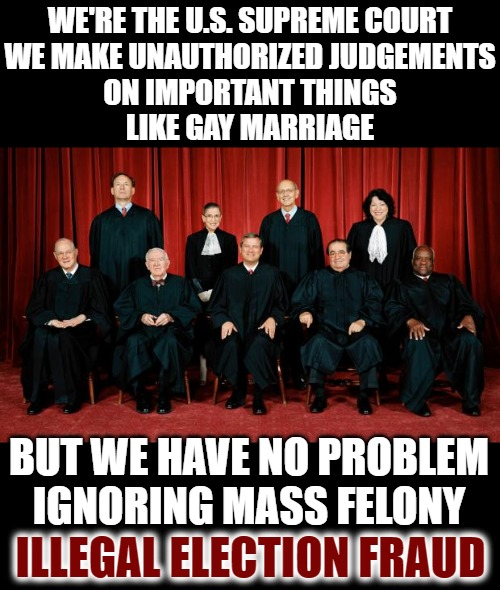 More Useless People |  WE'RE THE U.S. SUPREME COURT WE MAKE UNAUTHORIZED JUDGEMENTS ON IMPORTANT THINGS LIKE GAY MARRIAGE; BUT WE HAVE NO PROBLEM IGNORING MASS FELONY; ILLEGAL ELECTION FRAUD | image tagged in supreme court,fraud,rigged elections,dominion,government corruption | made w/ Imgflip meme maker
