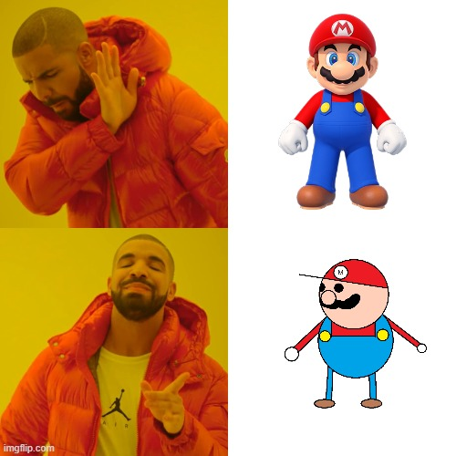 this mario is better | image tagged in memes,drake hotline bling,mario,mario dies | made w/ Imgflip meme maker