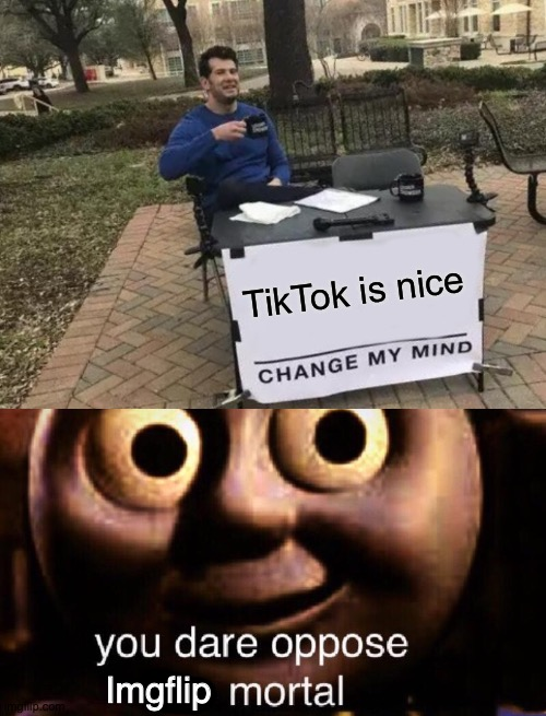 How dare you |  TikTok is nice; Imgflip | image tagged in memes,change my mind,you dare oppose me mortal,imgflip,tiktok,change | made w/ Imgflip meme maker
