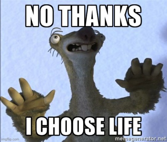No thanks I choose life | image tagged in no thanks i choose life | made w/ Imgflip meme maker