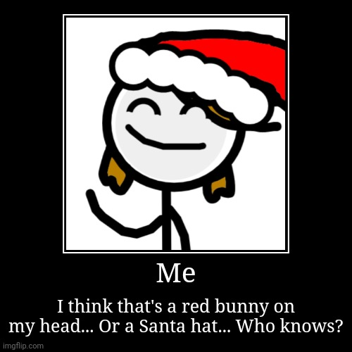 Me | I think that's a red bunny on my head... Or a Santa hat... Who knows? | image tagged in funny,demotivationals | made w/ Imgflip demotivational maker