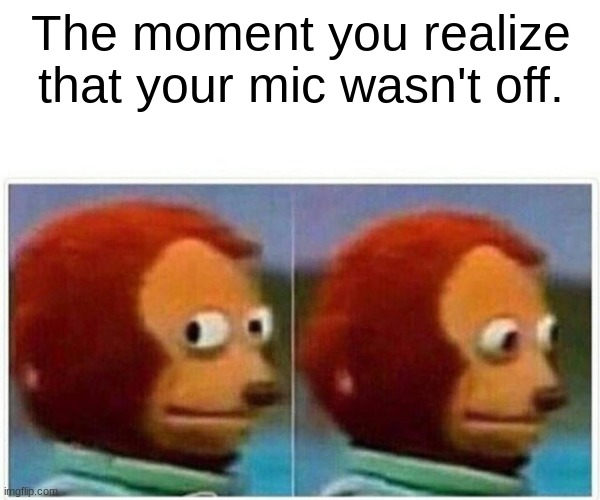 Monkey Puppet Meme |  The moment you realize that your mic wasn't off. | image tagged in memes,monkey puppet | made w/ Imgflip meme maker