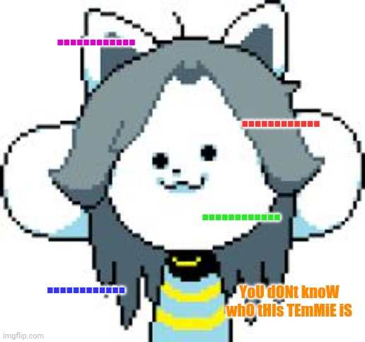 ............ ............ ............ ............ YoU dONt knoW whO tHIs TEmMiE iS | image tagged in temmie format | made w/ Imgflip meme maker